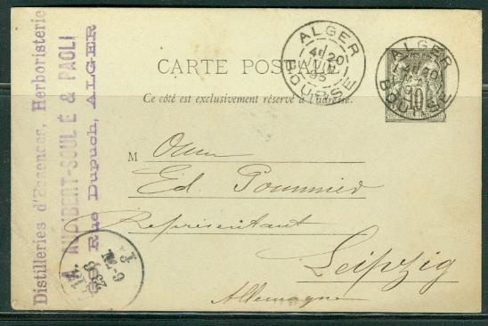 France H & G # 52, pse postal card, used, issued 1892