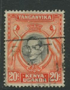 Kenya & Uganda - Scott 74 - KGVI Definitive -1942 - Used - Single 20c Stamp