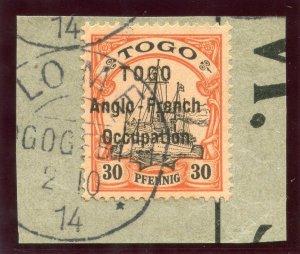 Togo 1914 30pf black & orange/buff very fine used. SG H6. Sc 40.