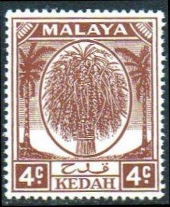 Kedah 1950 4c brown MH