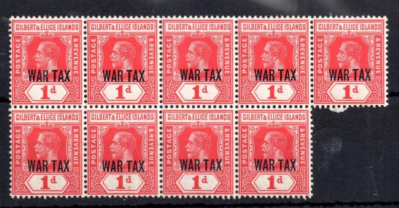 Gilbert & Ellice 1918 1d War Tax MNH block SG126 WS10311
