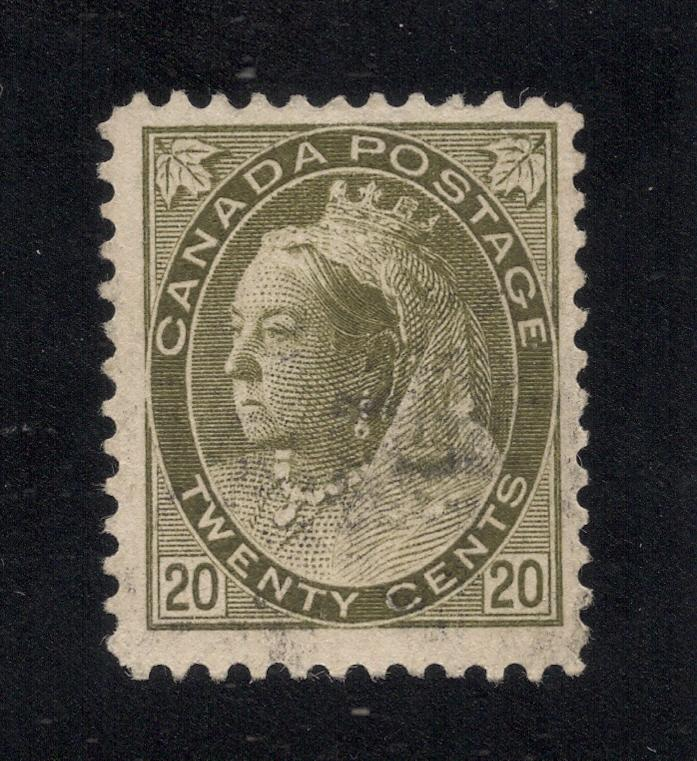 Canada #84 Olive Green - 20 Cents - Light Cancel