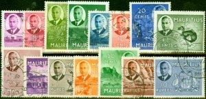 Mauritius 1950 Set of 15 SG276-290 Fine Used