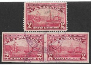 Doyle's_Stamps: Nice 1909 Used Perf/Imperforate Pair of 2c Hudson-Fulton Stamps