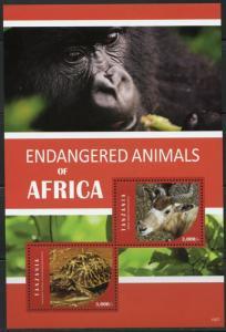 TANZANIA 2016  ENDANGERED ANIMALS OF AFRICA SOUVENIR SHEET  II  MINT NH
