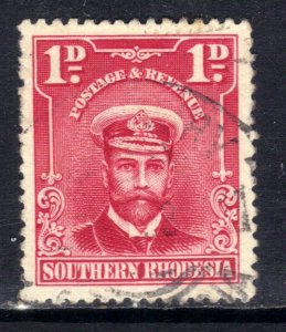 Southern Rhodesia 1924 - 29 KGV 1d Bright Rose used SG 2 ( D619 )