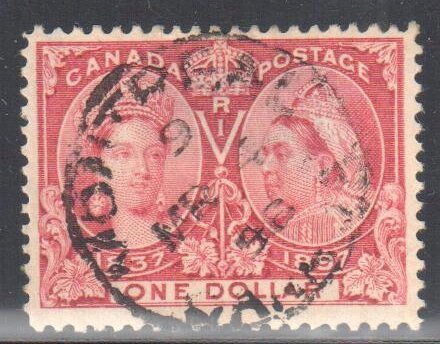 Canada #61 USED VF CDS cancel Jubilee $1 C$1000.00  Has a small thin