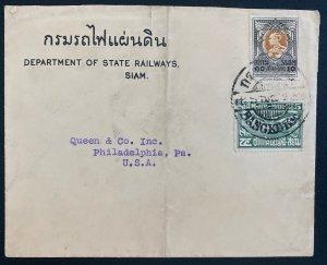 1925 Bangkok Thailand Dept State Railways  Cover To Philadelphia PA USA