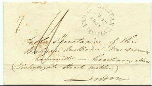 HALIFAX NOVA SCOTIA double split ring 1841 to London, England rec'r Canada cover