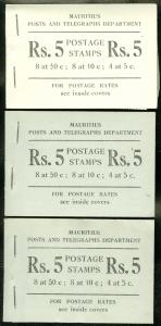 MAURITIUS : 1955. Stanley Gibbons #SB2. 3 Complete Booklets. VF MNH. Cat £120.