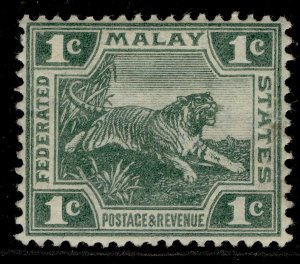 MALAYSIA - Federated Malay EDVII SG28, 1c green, M MINT. Cat £30. WMK MULT