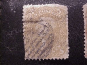 SCOTT 67 1861 FIVE CENT JEFFERSON STAMP USED CV 1,000.00