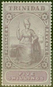 Trinidad 1901 5s Lilac & Mauve SG132 Fine Mtd Mint (2)