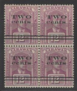 SARAWAK SG73 1923 2c on 12c PURPLE MTD MINT BLOCK OF 4