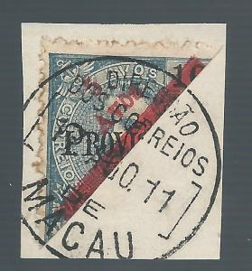 MACAO 1911 BISECT 5A ON 10A PROVISORIO ON PIECE