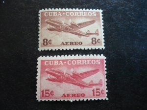 Stamps - Cuba - Scott#C75-C76 - Mint Hinged Set of 2 Air Mail Stamps