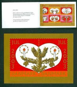 Denmark. Christmas Seals 2003. Souvenir Folder.  Angels, Santa, Birds