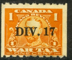 CANADA REVENUES 1915 1c KGV WAR TAX Coil w DIV 17 Precancel VDM. FWT17a MH