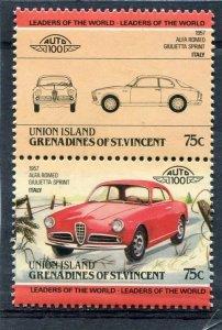 Union Island 1984 CAR ALPHA ROMEO ITALY 1957 Pair (2v) Perforated Mint (NH)