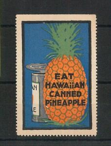 55209 -  VINTAGE  POSTER STAMP Label - USA: eat HAWAIIAN PINAPLE - Hawaii