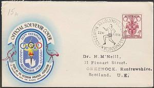AUSTRALIA 1956 Olympic Games cover commem cancel WOMEN RUNNING.............54095