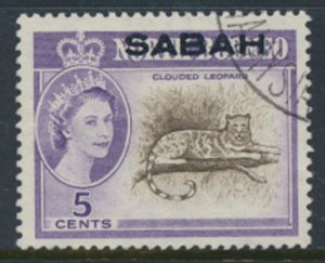 SABAH Opt on North Borneo  SG 410  SC# 3 Used   Clouded Leopard see scans /de...
