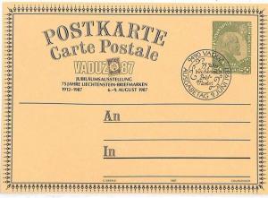 LIECHTENSTEIN Postal Stationery Card PHILATELY Exhibition 1987 VV184