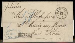 USA 1875 NY Agent De Rham NDL Neckar Markirch Hufeisen France Rhine Cover  92221