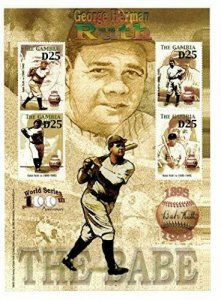 Gambia MNH S/S Babe Ruth The Babe 4 Stamps