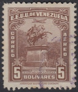 Venezuela 1944 5b Red Brown. Used. Scott 162, SG 645