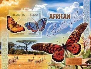 Uganda 2012 AFRICAN BUTTERFLIES & DORCAS GAZELLE s/s Perforated Mint (NH)