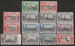 Falkland Is 84-92 x91, 85a, 89a SG 148-159 MLH VF 1938-41 SCV $85.70 (jr)