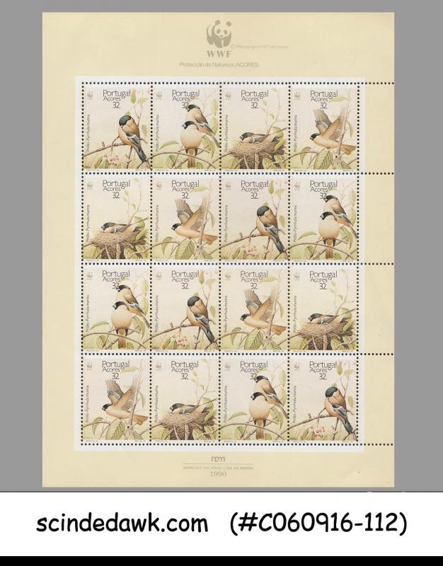PORTUGAL AZORES - 1990 BIRDS / BIRD / WWF / PROTECTION OF NATURE SHEETLET MNH