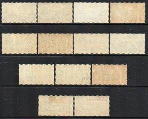 Ascension Island: 1938 KGVI perf 13½ set (13) SG 38-47 mint