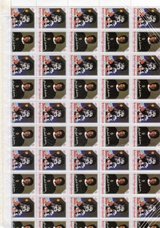 BRITISH VIRGIN ISLANDS 1986  Unissued Michael Jackson 2 Full Sheetlets 25 Pairs