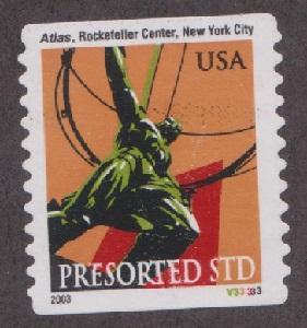 US #3770 Atlas Statue Used PNC Single plate #V33333