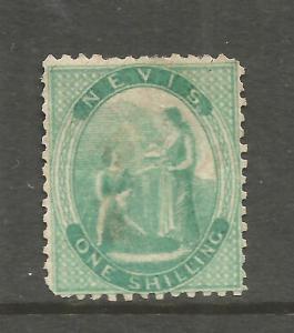NEVIS  1862  1/-  GREEN  MNG    SG 8  CV 350pds