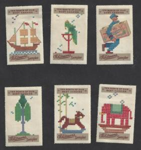 Vintage All 6 Issues Whitman's Sampler Promotional Poster Stamps (AX34)