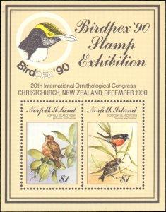 Norfolk Islands #500, Complete Set, Souvneir Sheet Only, 1990, Birds, Never H...