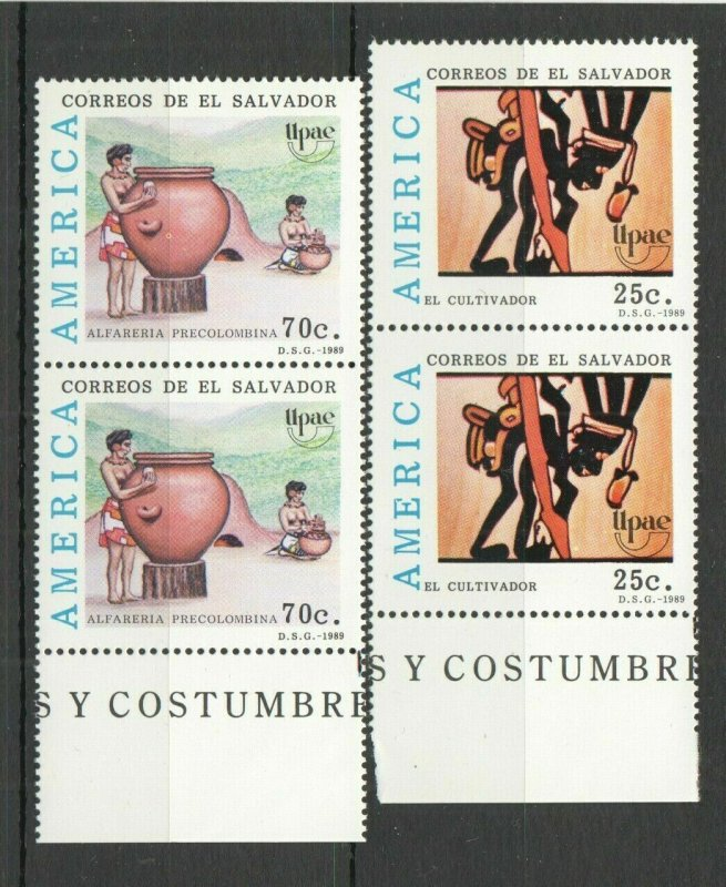 AB1445 1989 SALVADOR CULTURE PREHISTORIC ART & CRAFT UPAEP AMERICA 2SET FIX