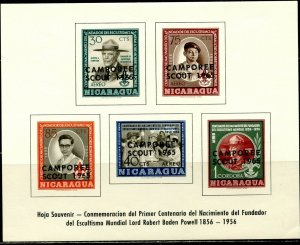NICARAGUA Sc#C386a S/S with 'CAMPOREE SCOUT 1965' Overprint OG Mint NH