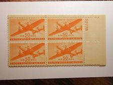 SCOTT # C 31 50 CENT DESIRABLE AIR MAIL PLATE BLOCK MINT NEVER HINGED SCV $ 50