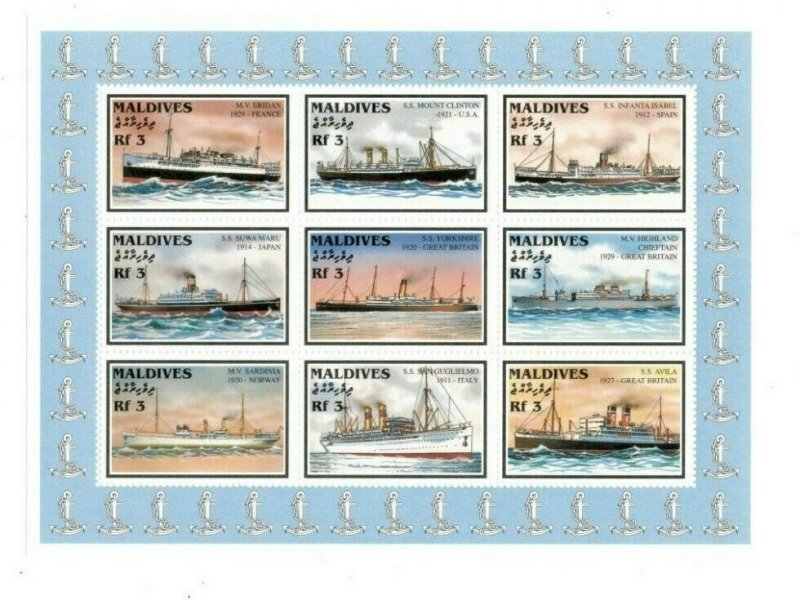 Maldives MNH S/S 9719 Steam Ships 9 Stamps