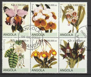 Angola Used Block Of 6 Flowers 2000