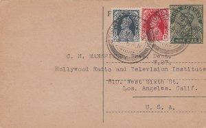 India 3p and 1a KGVI on 9p KGV Postal Card 1939 Tirunelveli to Los Angeles, C...