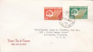 Peru.1963 Scott 489 + C190 Food Agricultural Org Freedom From Hunger FDC
