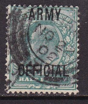 Great Britain 1900 1/2d blue green KEVII Overprint ARMY OFFICIAL  FINE/(0)