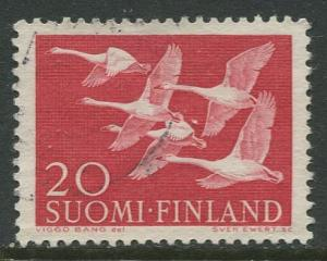 Finland - Scott 343 - Whooper Swans -1956- Used - Single 20m Stamp
