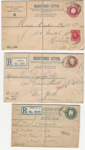 Great Britain, 3 Different Registered Envelopes, Used in 1921, 1924, & 1935