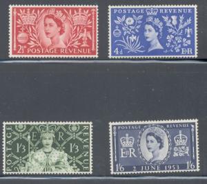 Great Britain Sc 313-6 1953 QE II Coronation stamp set mint